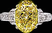 Oval fancy yellow diamond and  round diamond ring